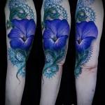 тату синие цветы - фото вариант от 21122015 № 5