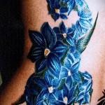 тату синие цветы - фото вариант от 21122015 № 6