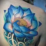 тату синие цветы - фото вариант от 21122015 № 7