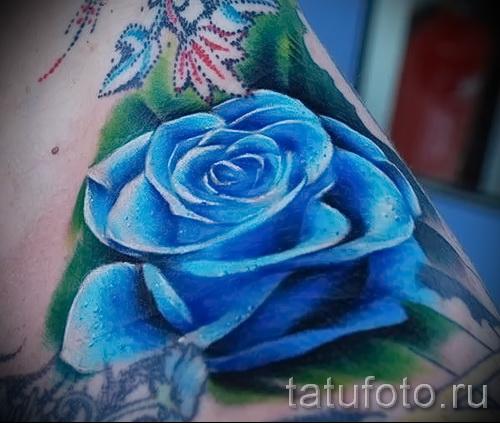 тату синие цветы - фото вариант от 21122015 № 8