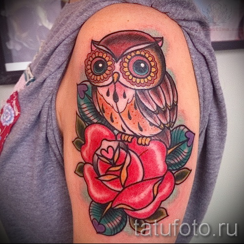 тату сова с розами - фото вариант от 15122015 № 10