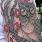 тату сова с розами - фото вариант от 15122015 № 4