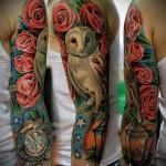 тату сова с розами - фото вариант от 15122015 № 5