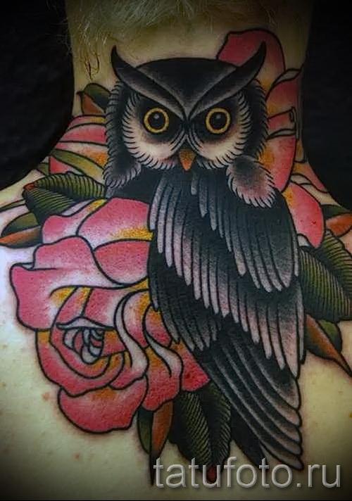 тату сова с розами - фото вариант от 15122015 № 6