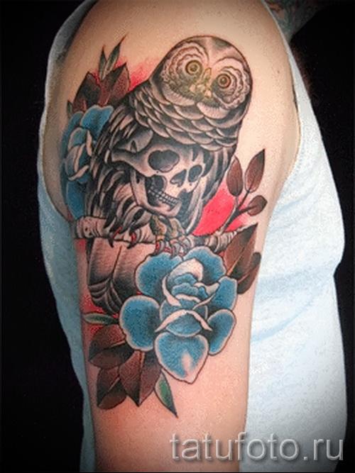 тату сова с розами - фото вариант от 15122015 № 7