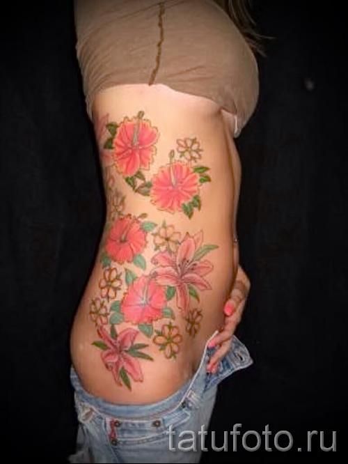 тату цветы на боку у девушек фото - фото вариант от 21122015 № 6