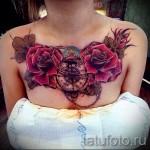 тату цветы на груди - фото вариант от 21122015 № 1