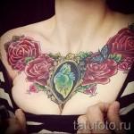 тату цветы на груди - фото вариант от 21122015 № 2