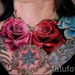 тату цветы на груди - фото вариант от 21122015 № 3