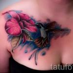 тату цветы на груди - фото вариант от 21122015 № 5