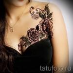 тату цветы на груди - фото вариант от 21122015 № 8