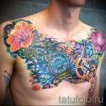 тату цветы на груди - фото вариант от 21122015 № 9