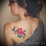 тату цветы на лопатке - фото вариант от 21122015 № 6