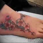 тату цветы на ноге - фото вариант от 21122015 № 3