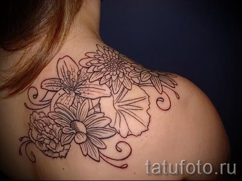 тату цветы на плече - фото вариант от 21122015 № 3