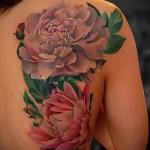тату цветы пионы - фото вариант от 21122015 № 3
