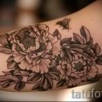 тату цветы пионы - фото вариант от 21122015 № 4