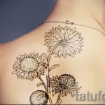 тату цветы черно белые - фото вариант от 21122015 № 5