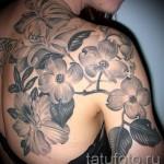 тату цветы черные - фото вариант от 21122015 № 1