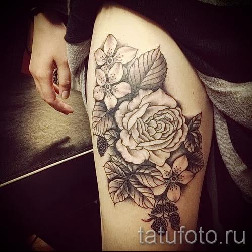 тату цветы черные - фото вариант от 21122015 № 2