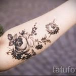 тату цветы черные - фото вариант от 21122015 № 5