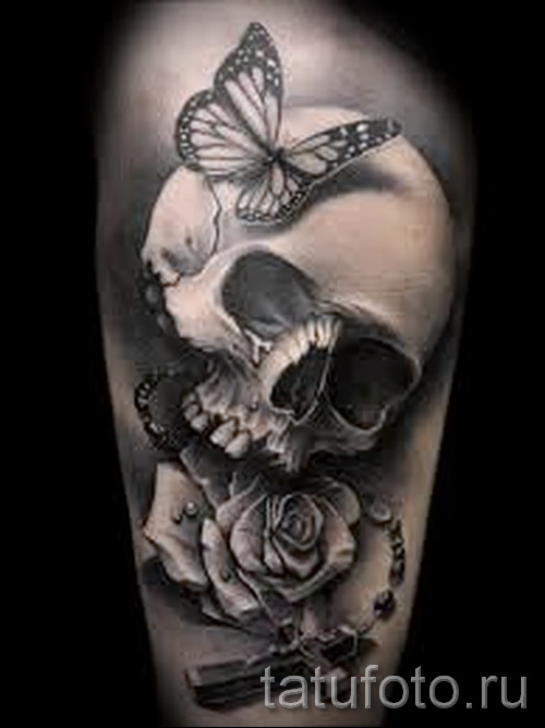 тату череп с розами - фото вариант от 15122015 № 1