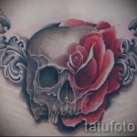 тату череп с розами - фото вариант от 15122015 № 15