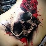 тату череп с розами - фото вариант от 15122015 № 18