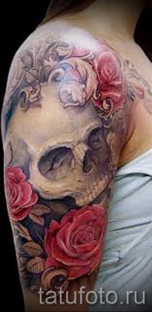 тату череп с розами - фото вариант от 15122015 № 2
