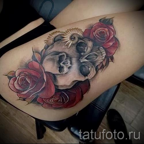 тату череп с розами - фото вариант от 15122015 № 23