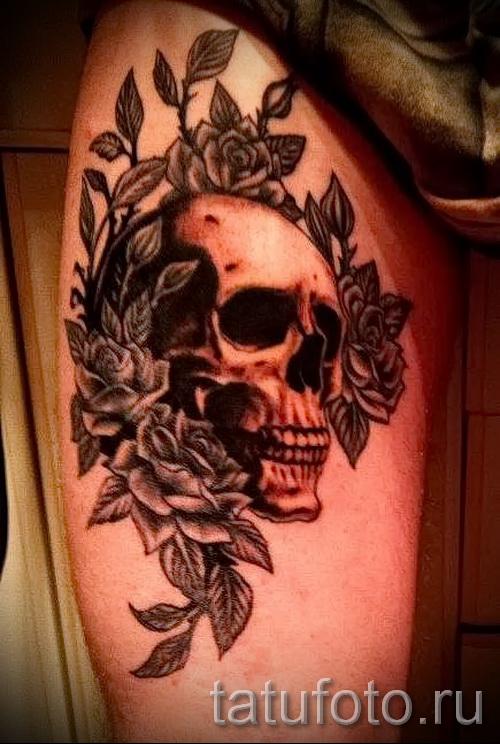 тату череп с розами - фото вариант от 15122015 № 26