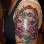 тату череп с розами - фото вариант от 15122015 № 29