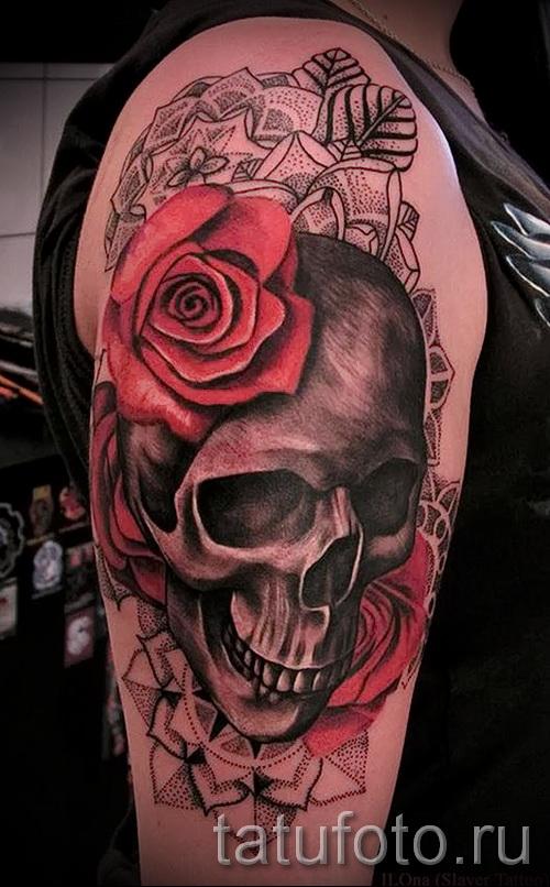 тату череп с розами - фото вариант от 15122015 № 3