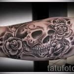 тату череп с розами - фото вариант от 15122015 № 33