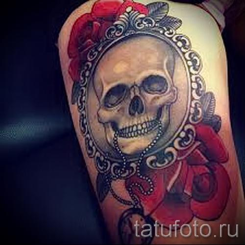 тату череп с розами - фото вариант от 15122015 № 4
