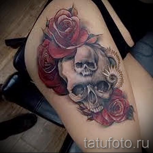 тату череп с розами - фото вариант от 15122015 № 5