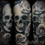 тату череп с розами - фото вариант от 15122015 № 8