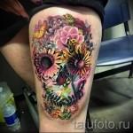 тату череп с цветами - фото вариант от 21122015 № 1