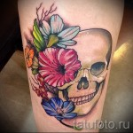 тату череп с цветами - фото вариант от 21122015 № 11
