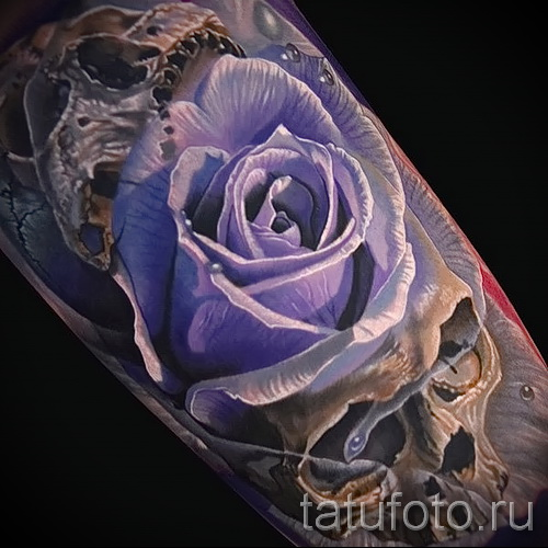 тату череп с цветами - фото вариант от 21122015 № 13