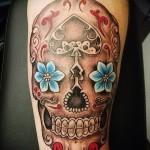 тату череп с цветами - фото вариант от 21122015 № 6