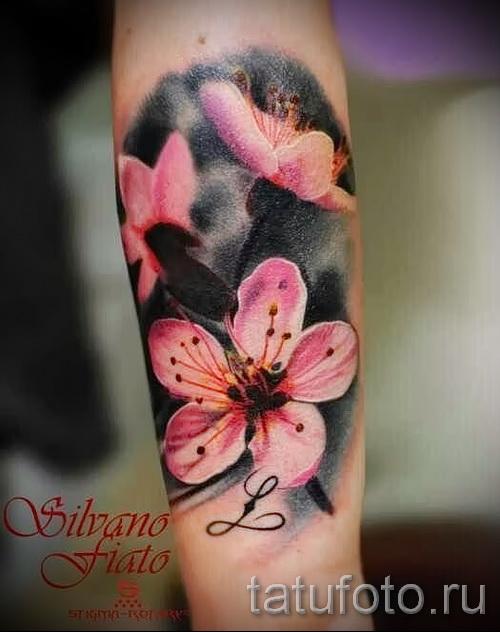 цветок сакуры тату - фото пример от 12122015 № 3