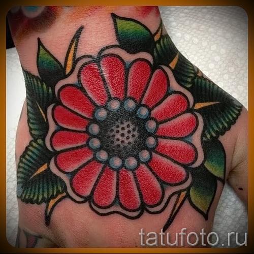 цветы олд скул тату - фото вариант от 21122015 № 1