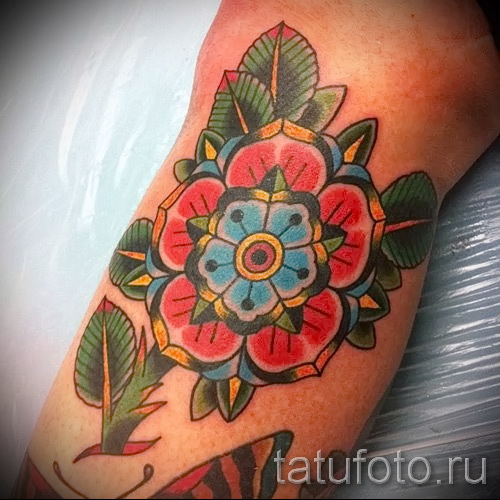 цветы олд скул тату - фото вариант от 21122015 № 3