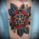 цветы олд скул тату - фото вариант от 21122015 № 4