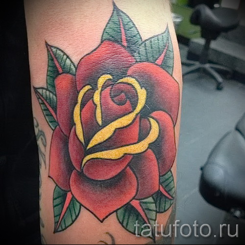 цветы олд скул тату - фото вариант от 21122015 № 6