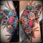 цветы олд скул тату - фото вариант от 21122015 № 8