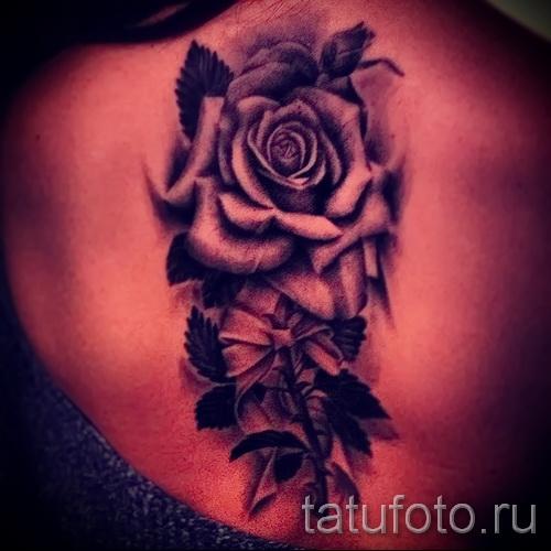 черная роза тату - фото вариант от 15122015 № 11