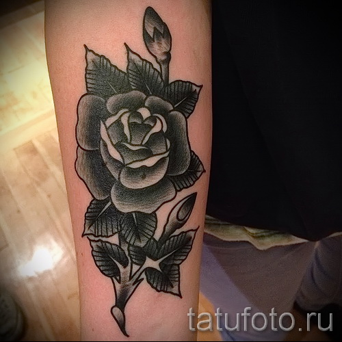 черная роза тату - фото вариант от 15122015 № 15