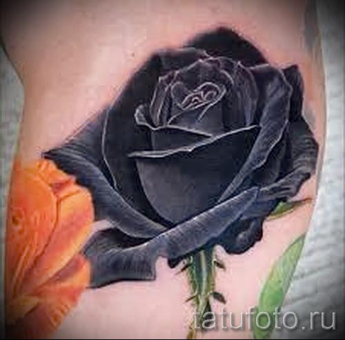 черная роза тату - фото вариант от 15122015 № 2